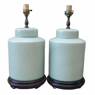 Vintage Chinoiserie Celadon Green Crackle Ceramic Ginger Jar Lamps - a Pair