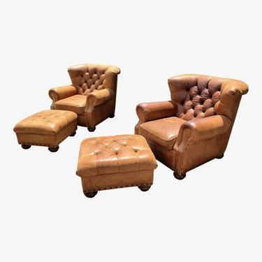 Ralph Lauren Leather Writer's Chairs & Ottoman.