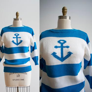 Vintage Nautical Sweater / Anchor Sweater / Vintage Jantzen Sweater / Yacht Rock Sweater / Blue and White Striped Preppy Sweater by milkandice