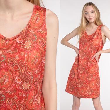Boho Mini Dress 90s PAISLEY Print Sun Bohemian Sundress Grunge Dress Orange 1990s Hippie Vintage Shift Medium by ShopExile