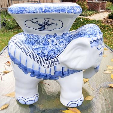 Asian Planter, Ceramic Blue and White Porcelain, Elephant Planter, Oriental Home Decor by 3GirlsAntiques