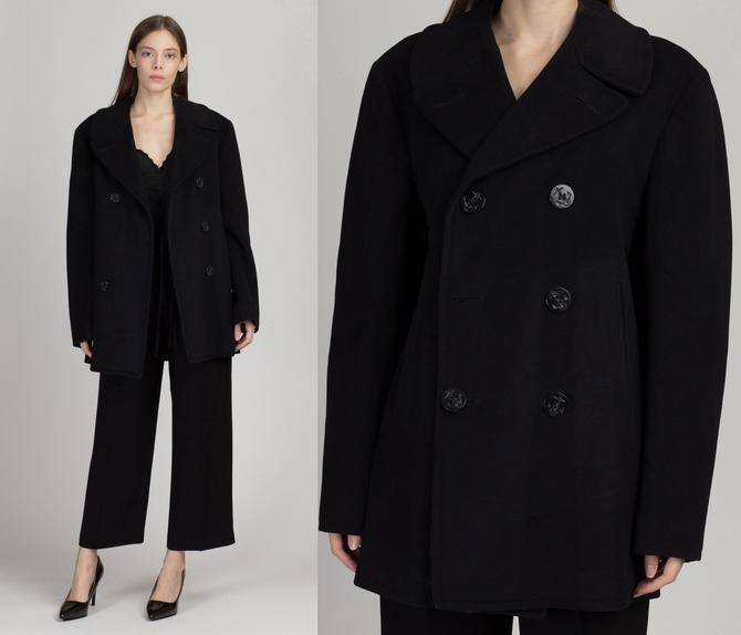 Vintage 1940s US Navy Pea Coat - Size 38 | 40s Blue Kersey Wool Double Breasted Anchor Button Long Naval Issued Overcoat by FlyingAppleVintage
