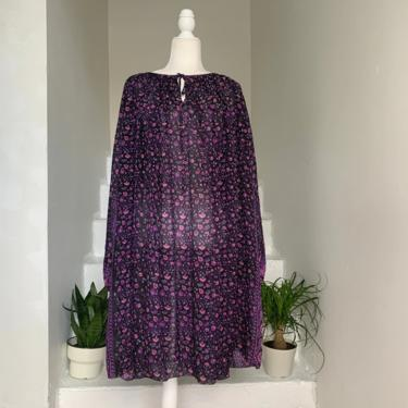 Rare 1970s JUDITH ANN Silk Boho Block Print Purple Dress Vintage Small Medium by AmalgamatedShop