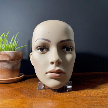 Vintage Life Like Lady Woman Mannequin, Head Face Ears, Glass Eyes, Eyelashes - Real Size, Natural Look, Matte Skin Texture, Halloween Decor by VenerablePastiche