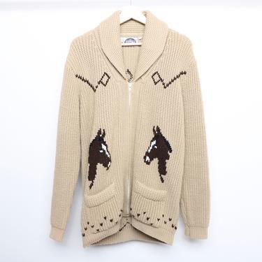 vintage HORSE 1960s 70s CARDIGAN sweater zipper jacket coat -- men's size large by CairoVintage