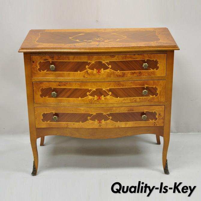 Vintage Italian Satinwood Inlay 3 Drawer Chest Commode Side Cabinet