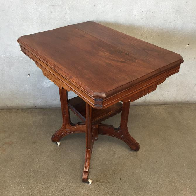 Antique Arts & Crafts Table with Wheels