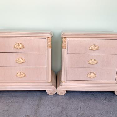 Pair of 80s Chic Shell Night Stands