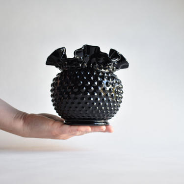 Large Ebony Vase by Fenton Art Glass | Black Crimped Hobnail Bowl | Hollywood Regency Classic Vintage Home Decor Centerpiece by LostandFoundHandwrks