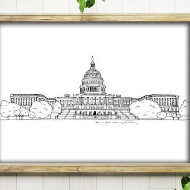 11x14 Art Print // U.S. Capitol Building // Ink Drawing // Washington, DC by BillieClaireHandmade