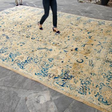 """Antique 11'10"""" x 15'6"""" Oversized Large Hand Knotted Wool Low Pile Rug - FREE DOMESTIC SHIPPING by HouseofSeance"""