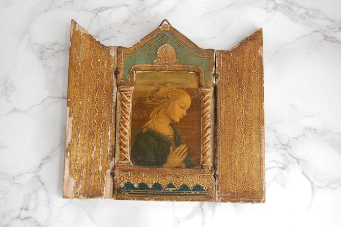 Religious Wood Icon - Religious Wall Decor - Italian Gilt Icon - Florentine Religious Triptych by PursuingVintage1