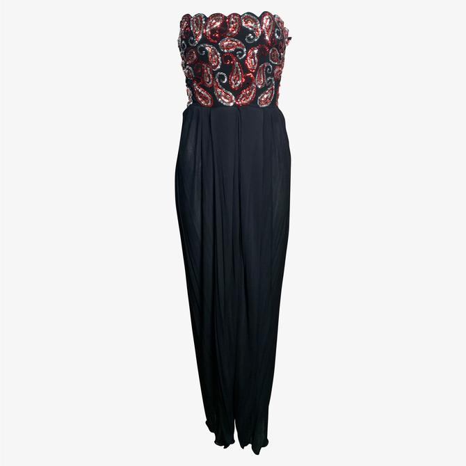 Arnold Scaasi 80s Black Jersey Strapless Gown with Paisley Sequins