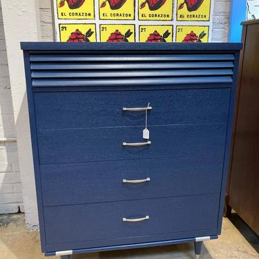 """Classic, blue painted mid century chest of drawers. 4 drawers 34"""" x 18"""" x 43.5"""""""