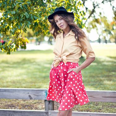 80s Pink Polka Dot Skirt Vintage High Waisted Belted Pocket Skirt by AppleBranchesVintage