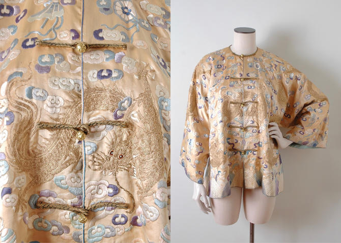 Unique Antique Chinese Silk Jacket With Embroidered Dragons by hemlockvintage