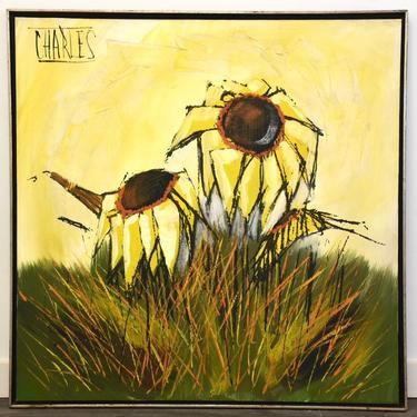 """Oil on Canvas Sunflower Painting by Charles Titled """"End of Summer"""" by mixedmodern1"""
