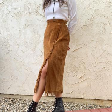 Vintage 80's Imagineer Design Studios Leather Suede Fringe Slit High Waisted Skirt by CottontailTrdPost