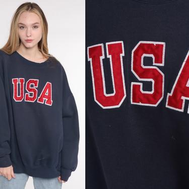 USA Sweatshirt Navy Blue Crewneck Sweatshirt Crewneck Sweatshirt Graphic Slouchy 1990s Vintage Sweat Shirt Jansport Extra Large xl xxl by ShopExile