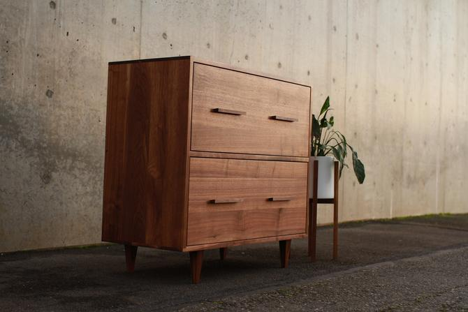Parker Filing Cabinet, Mid Century Filing Cabinet, Solid Hardwood File Cabinet, Modern Office (Shown in Walnut) by TomfooleryWood