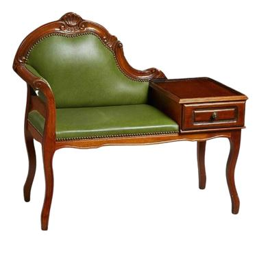 Antique Phone Bench, French Carved Mahogany, Green Leather, Early 1900s Charming