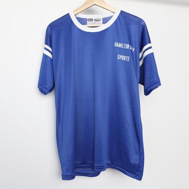 vintage 1970s 80s CALIFORNIA mesh ringer athletic shirt HAMILTON CITY, California blue & white t-shirt -- size large by CairoVintage