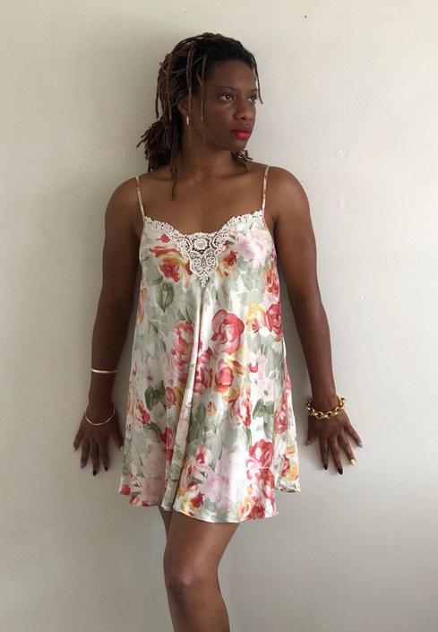 80s silk charmeuse slip dress / vintage pink cottage rose watercolor floral liquid silk charmeuse lace trim VS Gold Label slip dress | XS S by RecapVintageStudio