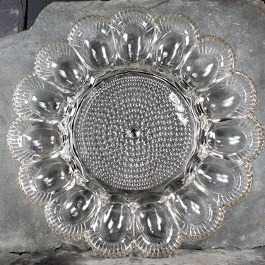 Vintage Glass Deviled Egg Serving Dish - Hobnail Glass - Classic Holiday Serving Piece - Heirloom Table | FREE SHIPPING by Bixley