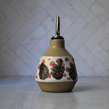 Pottery olive oil dispenser, PINECONE oil bottle, handmade ceramics, Ceramic cruet by claylicious