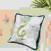 Embroidered River Snake Pillow in Greens