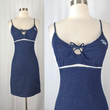 Vintage Y2K Girl Star Denim Stretch Bodycon Dress - 2000 Style Spaghetti Strap Jean Mini Dress - XXS Keyhole Summer Dress by JanetandJaneVintage