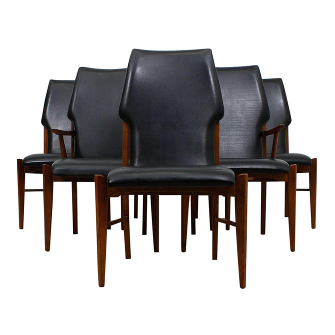 The Draper's Walnut 'Mad Med' Mid-Century Modern Dining Chairs – Set of 6