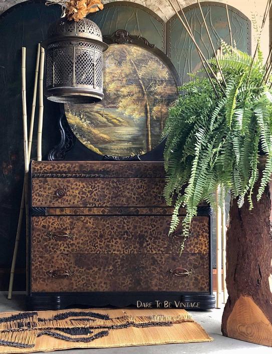 Vintage Hand Painted Leopard Foral Dresser - Vintage Art Deco Dresser - Bohemian Furniture - Vintage Dresser Bedroom Furniture by DareToBeVintage