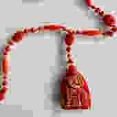 Max Neiger Red Czech Glass Seated Pharaoh Pendant Scarab Necklace by LegendaryBeast