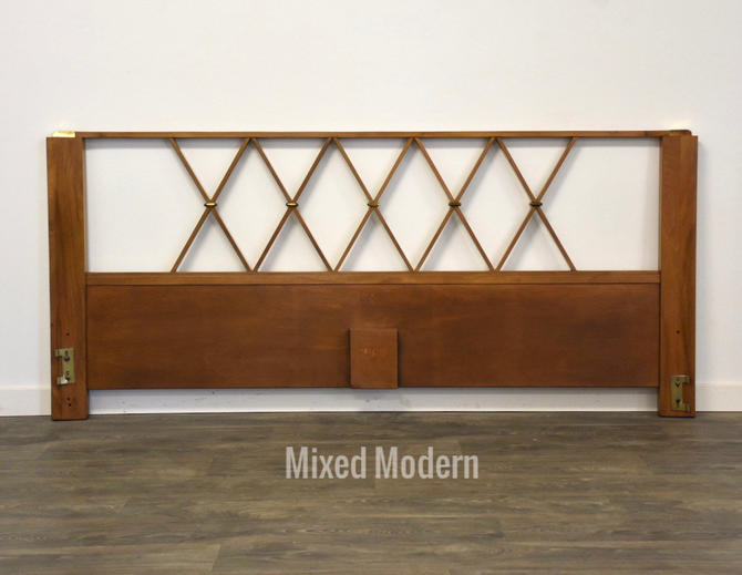 Paul Frankl Walnut and Brass King Headboard by mixedmodern1