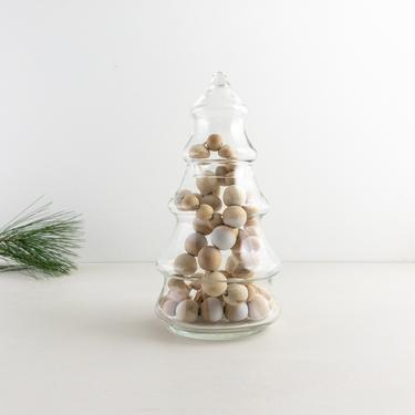 Clear Glass Christmas Tree Jar, Apothecary Container, Tree Shaped Christmas Vase, Vintage Candy Dish by PebbleCreekGoods