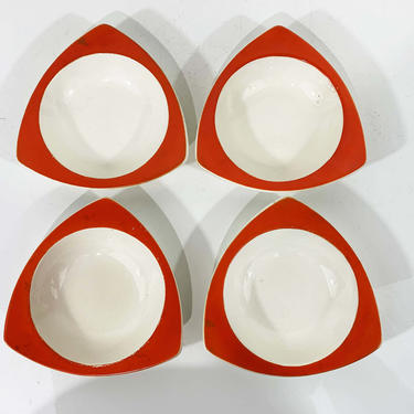 True Vintage Salem Tricorne China Set Four Side Bowls Ice Cream Salad Atomic Art Deco Streamline Mandarin Orange Red Mid-Century Triangular by CheckEngineVintage
