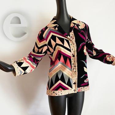 Vintage 60s Emilio Pucci Velvet Jacket • Pink Purple Black Floral + Geometric Authentic Signed Designer Velveteen • MOD Couture • Size Large by elliemayhems