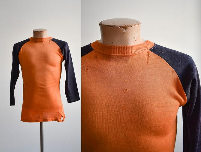 1950s Orange & Black Athletic Raglan by milkandice