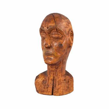 Huge Vintage Mid-Century Carved Wood Abstract Bust Man's Head Sculpture by PrairielandArt