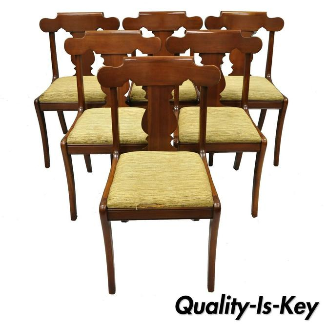 Set of Six Vintage Statton Solid Cherry Wood American Colonial Dining Chairs