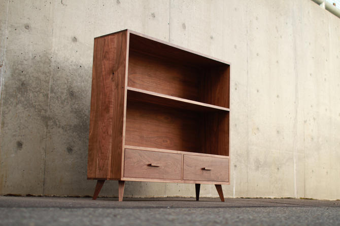 "HALFSTACK Bookcase, Double wide, 44"" Wide (shown in walnut) by TomfooleryWood"