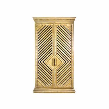 Vintage 1970s Mirrored Faux Bamboo Bar Cabinet Armoire Cupboard w Light & Locks by PrairielandArt