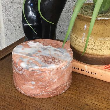 Vintage Marble Dish with Lid Retro 1980s Contemporary + Jewelry Storage + Catch All + Peachy Sienna and Grey + Stone + Vanity Decor by RetrospectVintage215