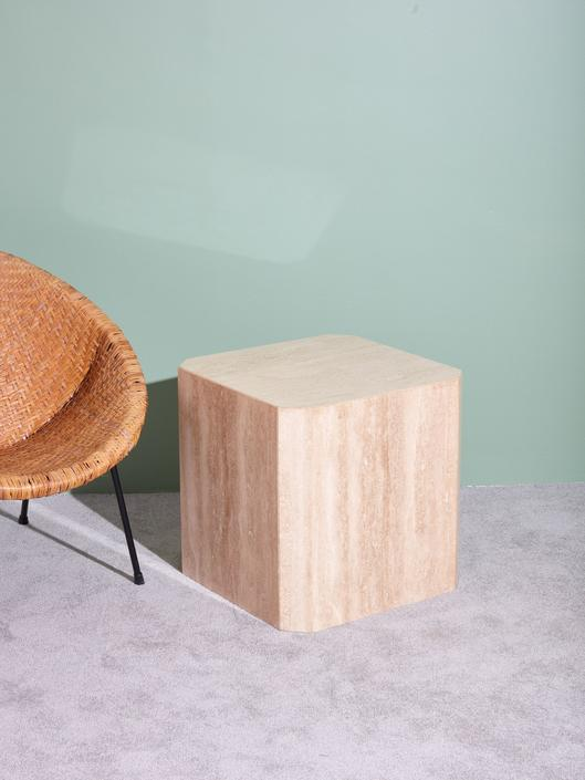 1970s Travertine Side Table