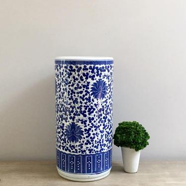 Chinoiserie Floor Vase Blue White Chinese Ceramic Umbrella Holder Asian Decor by ModRendition
