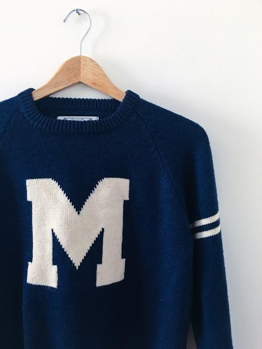 Vintage Wool Graphic Letterman Sweater Heavy duty knit navy wool Vintage Sexy 1960s Marc Jacobs Vermont Bernie Sanders Designer by CaribeCasualShop
