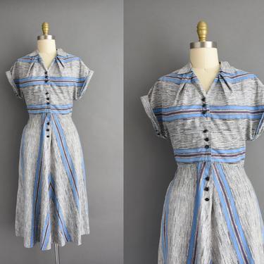 1950s vintage dress | Adorable Cotton Stripe Print Full Skirt Day Dress | Large | 50s dress by simplicityisbliss