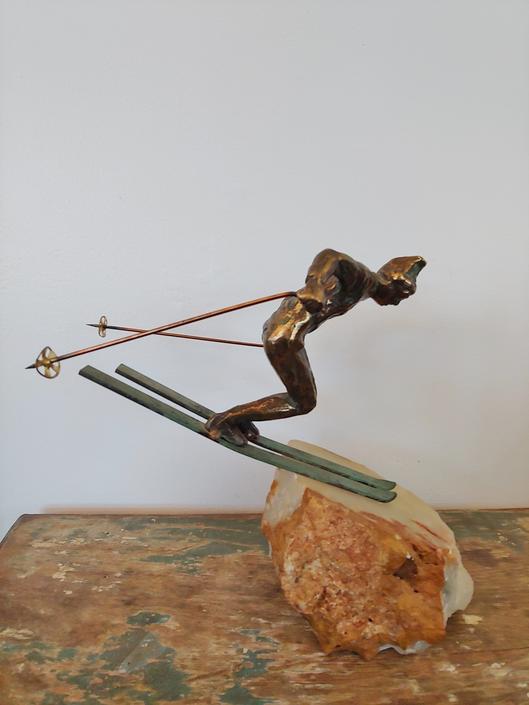 Rare Vintage Curtis Jere Skier Sculpture by ModandOzzie
