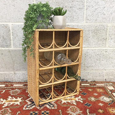 Vintage Wine Rack Retro 1980s Rattan + Holds 12 Bottles + Bohemian Style + Table Top +  Boho Drink Storage + Home and Kitchen Decor by RetrospectVintage215